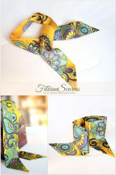 Women Silk Scarf ponytail HAND-PAINTED neckerchief. Skinny Neck Scarf. Yellow Small Narrow Scarves. Valentine Unique womens gift for her #FilkinaScarves #ponytail #scarves #yellow #painted #neckerchief #neckscarf #valentinegift #giftsforher
