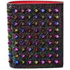 Christian Louboutin Christian Louboutin Paros Spiked Leather Bifold... ($360) ❤ liked on Polyvore featuring bags, wallets, metallic, snap wallet, colorful wallets, leather bifold wallet, bi fold leather wallet and bi-fold wallets