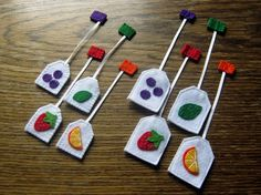 Play food Tea party playset 4 felt tea bags mini от DusiCrafts