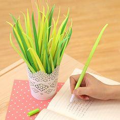 1x Grün Gras Blume Pot Kugelschreiber Kulis Stifte mit blauer