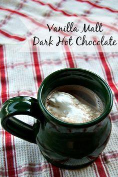 Dark chocolate cocoa, vanilla and malted milk powder make up this Vanilla Malt Dark Hot Chocolate that will warm you up when the weather cools off. Malted Milk, Beverages, Drinks, Powdered Milk, Hot Chocolate, Cocoa, Vanilla, Treats, Snacks