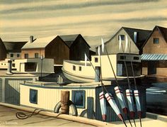 Fishermen's Village Edmund Lewandowski Wisconsin Federal Art Project, WPA, 1937