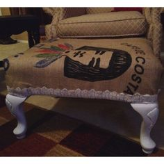 Footstool covered in a coffee bean sack.