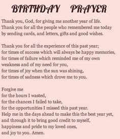 A birthday prayer.
