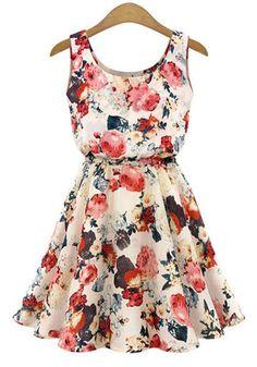 »Stylish Scoop Collar Sleeveless #Floral Print A-Line #Chiffon Women's #Dress« #fashion #fashionandaccessories