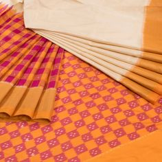 Sarveshi White Handwoven Ikat Silk Saree with Checks & Large Temple Border 10007740 - profile - AVISHYA.COM