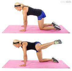 Fire Hydrant: You will practically feel the cellulite dripping off with this killer move in your glutes, hips and thighs. Here's how to do it:  Start on all fours with a flat back, and keep the abs pulled in tight (belly button to spine). Lift left knee up and out until it is the same level as your hip, keeping knee bent and foot flexed. Lower to start position. That's one rep. Perform this move for 30 seconds on each leg.