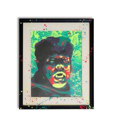 Multi layered frame popping stencil art, wolf man by James Warner