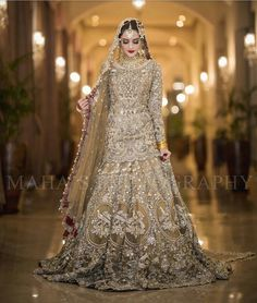 Beautiful Bridal Heavy Work Lahnga in Bronze Golden Color Embellished with Pure Crystals Dabka Nagh Zari Pearls Dull Gold and Silver Load work. Asian Bridal Dresses, Asian Wedding Dress, Pakistani Wedding Outfits, Pakistani Bridal Dresses, Pakistani Wedding Dresses, Bridal Outfits, Indian Dresses, Golden Bridal Lehenga, Golden Lehnga