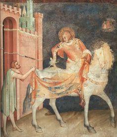 Simone Martini. St. Martin and the Beggar. 1317-1319. Fresco. Montefiore Chapel, Lower Church, San Francesco, Assisi, Italy.