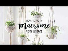 DIY - How to make a macrame plant hanger - YouTube Macrame Plant Hanger Patterns, Macrame Plant Hangers, Macrame Patterns, Rope Plant Hanger, Macrame Projects, Craft Projects, Craft Ideas, Macrame Tutorial, Bracelet Tutorial