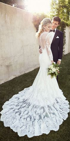vintage lace wedding dresses with illusion back from Essense of Australia