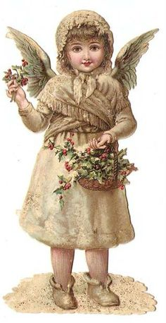 Victorian Die Cut Snow Angel Girl Holly Christmas Chromo Antique Scrap