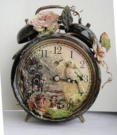 Altered Art Vintage Alarm Clock