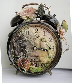 Altered Art Vintage Alarm Clock