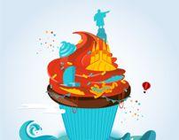 BCN & CAKE Poster Illustration by Carolina Torres, via Behance