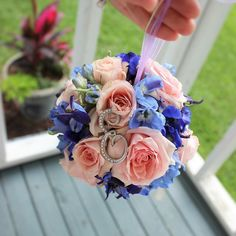 I would have loved a kissing ball when I was a little flowergirl! I still remember the winter white cape my mother made for me when I was a flowergirl. She made this kissing ball too. That Becky is a talented lady!  #thefloralcottageflorist #kissingball #pomander #blushandblue #flowergirl #nolawedding #neworleansweddings #ascensionweddings