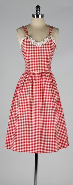vintage 1950s dress . red white cotton by millstreetvintage