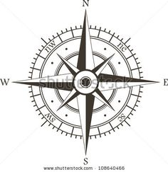 stock vector : Black wind rose isolated on white