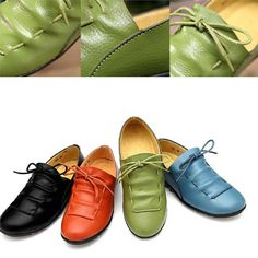 11afbaafa1d Vintage Leather Shoes Women Casual Comfortable Flat Shoes For Women Nurses Female  Working Elegant Lace-up