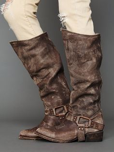 hand-distressed and embroidered western style tall boot......tumbled in a drum with rocks and stone, each pair is totally handmade in mexico at a more than one hundred year old factory.......this is Phoenix Boot.....another pair from Freebird by Steven.....at free people......