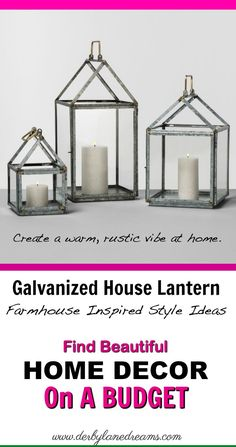 Love these House lanterns from Magnolia.  Perfect, rustic decor!   #farmhouse #farmhousestyle #rustic #ad #homedecor #homedecorideas #home #diy #diyhomedecor #diyhome #vintage #vintagestyle #budget #cheap #simple #apartment #ideas