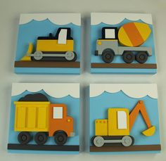Set of 4 Construction Kids Wood Wall Art Transportation Decor Excavator Cement Truck Bulldozer and Dump Truck Wooden Wall Art, Wood Wall, Diy For Kids, Crafts For Kids, Wood Crafts, Diy And Crafts, Art Transportation, Small Wood Projects, Wood Canvas