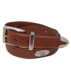 Men's PGA Tour Etched-Accent Leather Golf Belt, Size: 44, Brown