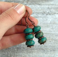 Blue Pyrite Turquoise Earrings Wire Wrapped Copper by GarnetRoses, $17.00