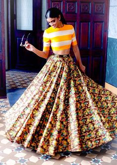 Sabyasachi Floral Lehenga With Yellow & White Striped Blouse Indian Attire, Indian Wear, India Fashion, Asian Fashion, Ethnic Fashion, Indian Dresses, Indian Outfits, Indian Skirt, Sabyasachi Collection