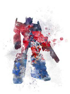 Optimus Prime inspirada ilustración ART PRINT, transformadores, arte de la pared, decoración del hogar, ciencia ficción