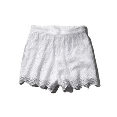 Abercrombie & Fitch Lace Culotte Shorts (33 CAD) ❤ liked on Polyvore featuring shorts, bottoms, white, white shorts, short shorts, high waisted lace shorts, highwaisted shorts and lacy shorts