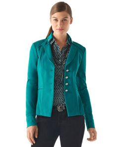 I like the color and cut of this jacket and the print underneath.