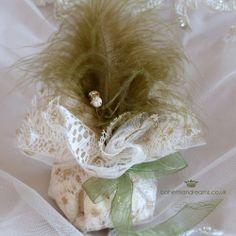 Lace bomboniere wedding favour www.bohemiandreans.co uk