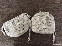 Simple Drawstring Bag - free charted crochet pattern in English and Japanese by Asami Togashi