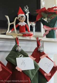 Elf on the Shelf Idea: Elf Changes Stockings - My Frugal Adventures Holiday Crafts, Holiday Fun, Elf Names, Elf On The Self, Elf Magic, Naughty Elf, Buddy The Elf, Christmas Holidays, Christmas Ideas