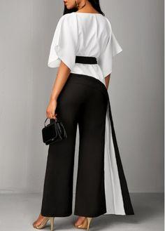 Asymmetric Hem Half Sleeve Top and Black Pants  | Rosewe.com - USD $34.56