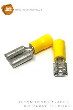These yellow pre-insulated female push-fit spade electrical crimp connector terminals feature anti-vibration copper inserts.  High-grade insulation makes crimping a simple task and an easy cable entry guide reduces flared wire strands minimising the risk of flash-overs.  The electro tin-plated terminals prevents oxidisation providing good corrosion protection.  Available in 4.8 and 6.3mm widths.