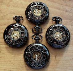 Gunmetal Black Pocket Watch includes Chain by PocketwatchPurveyor, $240.00