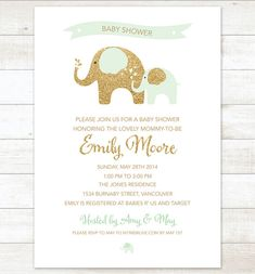 mint and gold elephant baby shower invitation mint gold glitter elephants shower invite printable modern shower digital invite on Etsy, $14.99