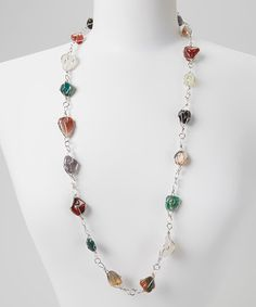 Take a look at this Green & Red Stone Necklace by Fantasy World Jewelry on #zulily today!
