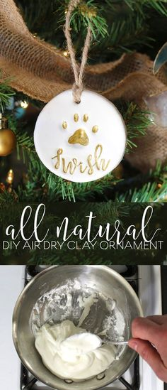 365 Designs: Pet gift basket with personalized natural DIY air dry clay paw print ornament
