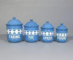 Vintage-French-Enamelware-Blue-White-Enamel-Canister-Set-flour-tea-4-pcs