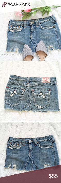 """True Religion Mini Distressed Skirt ST:18609 Cut:TRW506 Joey✦✦{I am not a professional photographer, actual color of item may vary ➾slightly from pics}  ❥waist:16"""" ❥hips:18"""" ❥length:11"""" ❥all measurements taken flat in inches ➳material/care:cotton/machine wash  ➳fit:it's a very short mini fits like a 2 in my opinion  ➳condition:is artfully distressed, has some spots on the Jean as apart of distressed look  (see 4th photo)   ✦20% off bundles of 3/more items ✦No Trades  ✦NO HOLDS ✦No lowball…"""