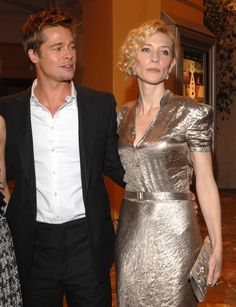 Pin for Later: Brad Pitt's Been a Hot Red Carpet Date Since the Cate Blanchett In Brad and Cate linked up to promote The Curious Case of Benjamin Button at the LA premiere. Cate Blanchett, Zendaya Dress, Jolie Pitt, Timeless Beauty, Celebrity Crush, Catwalk, Actors & Actresses, Red Carpet, Evening Dresses