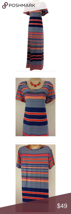 """Size 2X NEW ULTRA-SOFT MAXI DRESS Plus Size Summer This striped maxi dress is sexy, trendy, and fashionable!  ***This piece is ultra-ultra soft*** Size: 2X  Gorgeous striped print in shades of coral & blue Ultra-soft, super comfortable fabric  (The most ultra-soft fabric ever!) Measurements: Bust (armpit to armpit):  45"""" relaxed - stretches to 60""""  Waist: 40"""" relaxed - stretches to 53"""" Hips:  47"""" relaxed Length: 58"""" (top of shoulder to bottom hem)  Condition:  BRAND NEW! Fabric Content: 92%…"""