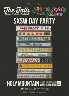 Secret Sounds SXSW Day Party | Wednesday, March 18, 2015 | 12:30-6pm | Holy Mountain: E. 7th St. at Red River, Austin, TX 78701 | Live performances by Joywave, Tei Shi, San Fermin, Holy Child, Kaleo, Max Frost, and more; free entry | Details: http://secret-sounds.com.au/SXSW/