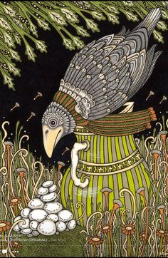 Anita Inverarity | INK on illustration board | The Crow and the Pitcher