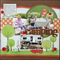 #papercraft #scrapbook #layout. Jana Eubank camping layout