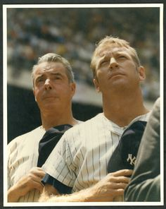 DiMaggio & Mantle, Old Timers Day 1969  Yankee Stadium  Photographer unknown